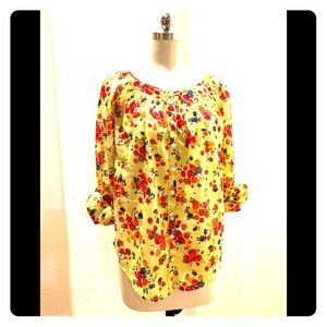 Anthropologie Floral Long Sleeve Cuff Blouse